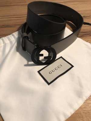 Gucci Cintura di pelle argento-nero Pelle