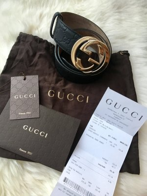 Gucci Gürtel Leder Schwarz Gold