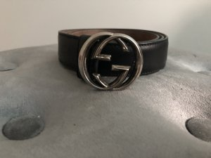 Gucci Leather Belt black-silver-colored