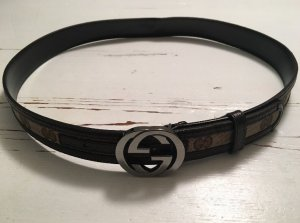 Gucci Canvas Belt black brown-cream leather