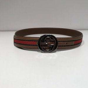 Gucci Canvas Belt red-forest green cotton