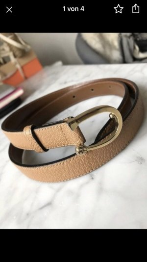 Gucci Cintura di pelle marrone chiaro-oro