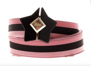 GUCCI Gürtel Schwarz Rosa Gold Stern Schnalle Stretch Belt Pink Black 90 M