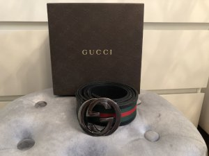 Gucci Canvas Belt red-forest green