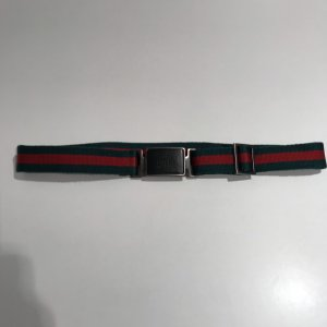 Gucci Fabric Belt brick red-forest green cotton