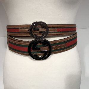 Gucci Canvas Belt red-forest green leather