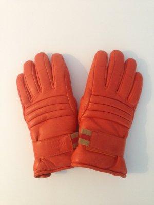 Gucci Handschuhe ( Skihandschuhe ) in Orange aus Leder in Gr. 6,5