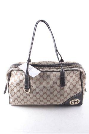 Gucci Handtasche beige-dunkelbraun Monogram-Muster klassischer Stil