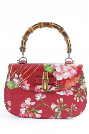 "Gucci Carry Bag ""Bamboo Classic Leather Top Handle Satchel Floral Red"""