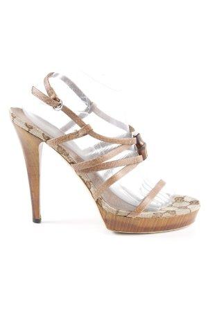 Gucci High Heel Sandaletten hellbraun-creme Monogram-Muster extravaganter Stil