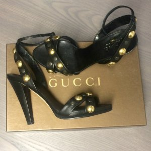 Gucci High Heel Sandal black-gold-colored