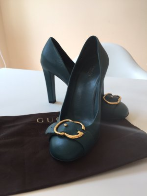 Gucci High Heels petrol leather