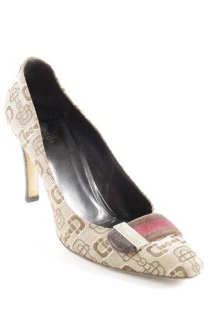Gucci High Heels hellbeige-beige Schriftzug gestickt Elegant