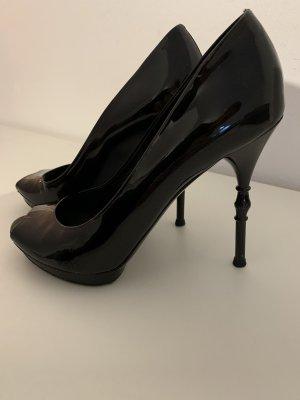 Gucci High Heels, Peep Toes, schwarzes Lackleder, Gr. 38,5