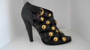Gucci High Heel Sandal black-gold-colored leather
