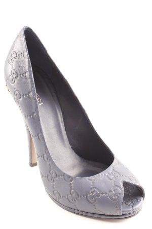 Gucci High Heels stahlblau abstraktes Muster Elegant