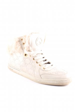 Gucci High Top Sneaker hellbeige Monogram-Muster extravaganter Stil