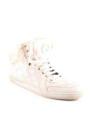 Gucci Zapatillas altas beige claro Patrón monograma estilo extravagante