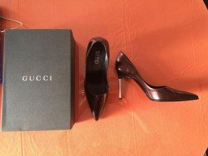 Gucci HighHeels Gr. 39,5 braun metallic wie neu mit Karton