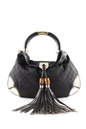 Gucci Borsa sacco nero-oro stampa integrale stile casual
