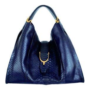 Gucci Hobotasche aus Pythonleder, Tasche, Nachtblau