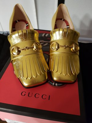 Gucci Moccasins gold-colored leather