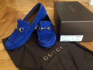 GUCCI Horsebit Loafer Damen, 39,5, Metal Blue