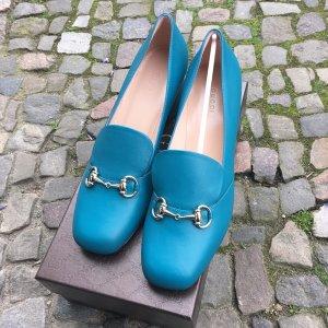 Gucci Horsebit Loafer Pumps, Blau, Leder, Gr. 39,5