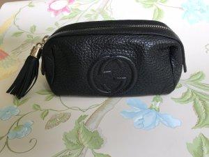 Gucci interlocking Schminktasche aus schwarzem Leder