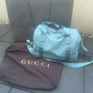 Gucci Kautschuk/Leder Reisetasche Sporttasche Mint-bleu mit Tüte und RE