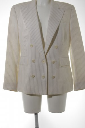 Gucci Short Blazer cream-dark blue striped pattern business style