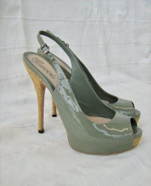 Gucci Peep Toe Pumps khaki-sand brown leather