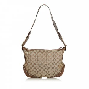 Gucci Large GG Canvas Pelham Studded Hobo Bag