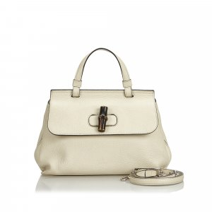 Gucci Leather Bamboo Daily Satchel