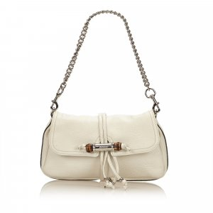 Gucci Leather Croisette Bamboo Evening Bag