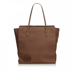 Gucci Leather GG Tote Bag