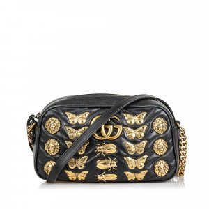 Gucci Leather Marmont Animal Stud Crossbody