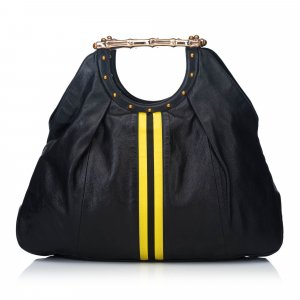 Gucci Leather Metal Bamboo Striped Tote