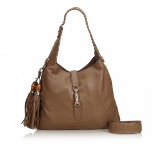 Gucci Leather New Jackie Tassel Hobo Bag