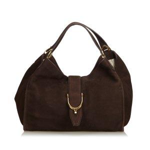 Gucci Sac fourre-tout brun foncé cuir