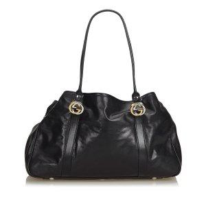 Gucci Leather Twin Tote Bag