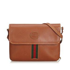 Gucci Leather Web Crossbody Bag