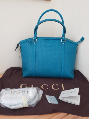 Gucci Leder Bag Mirco GG Guccissima Türkis  Neu