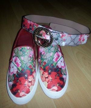 Gucci Leder Blume Auth Multi Farbe-Gurt-Frauen Größe L