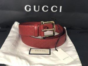 Gucci Ceinture en cuir rouge carmin-rouge foncé