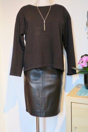 Gucci Falda de cuero negro-marrón