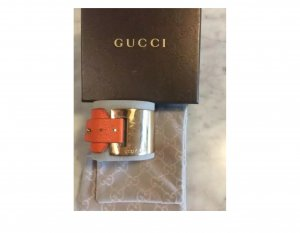 Gucci Leder Stahl Armband Orange