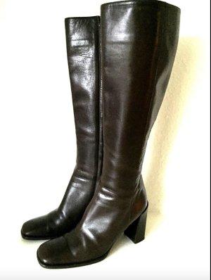 GUCCI Leder Stiefel Braun 37 Kniehoch 8cm Absatz Business Boots Brown Leather L