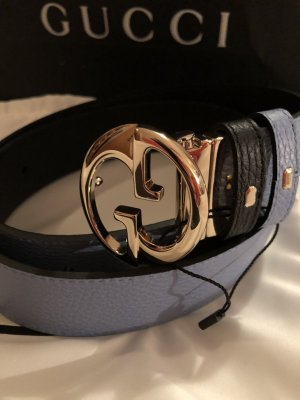 Gucci Ledergürtel-2Seitiges schwarz/hellblau Neu Original
