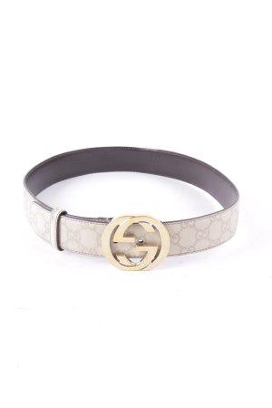 Gucci Ledergürtel beige Monogram-Muster Street-Fashion-Look